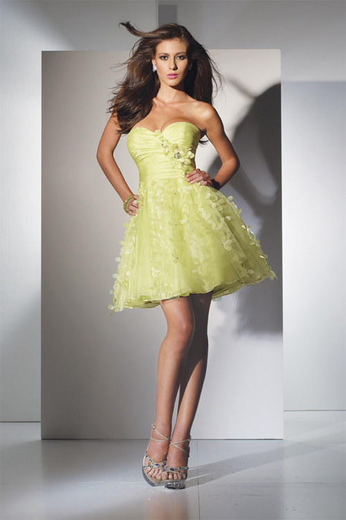 yellow chiffon mini skirt prom dress