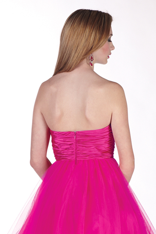 Short tulle fuschia prom dress