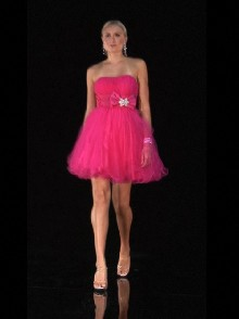 fuchsia baby doll prom dress