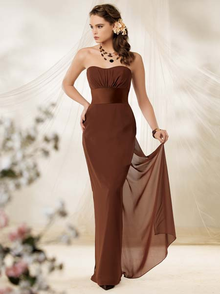brown chiffon pageant dress