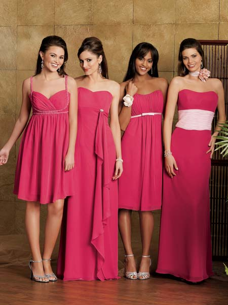 Pink bridesmaid dresses.
