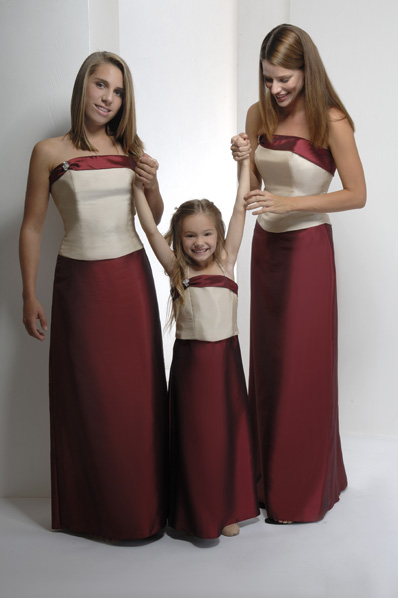 two tone merlot and ivory satin bridesmaids