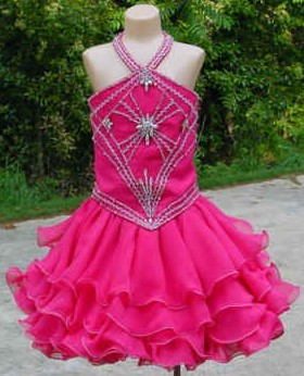 short stacked pageant dress