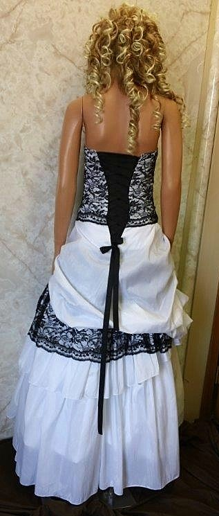 White wedding dress with black corset