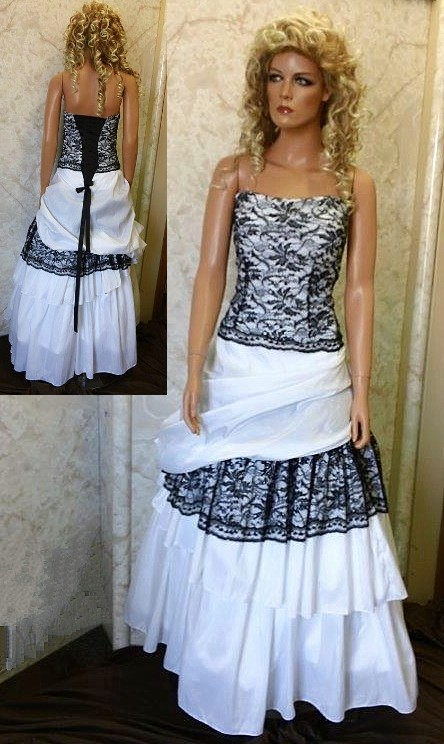 White wedding dress with black lace.