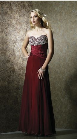red evening gown with sweetheart neckline