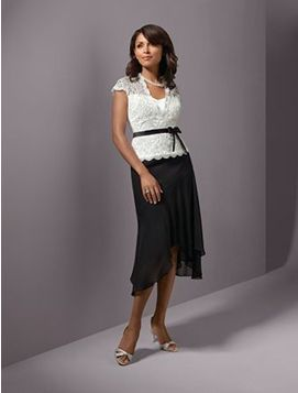 Black/White Evening Dress with Lace top