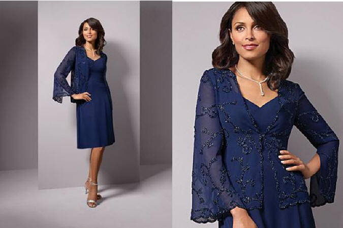 Mother of the bride dresses knee length with jacket 114