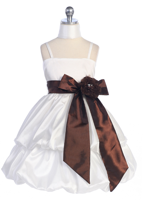 ivory and chocolate girls pickup dress