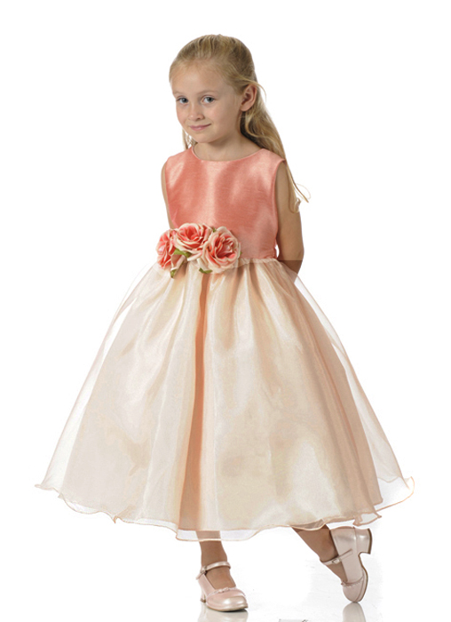 Coral Easter girls dress - Lime girls Easter dress