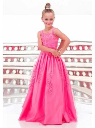 Girls floor length pink pageant dress