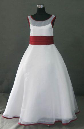 illusion bodice dress in white with red trim