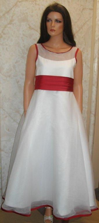 illusion bodice dress in white with apple red trim