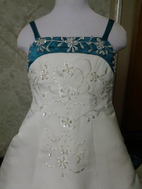 Light ivory and turquoise flower girl dress