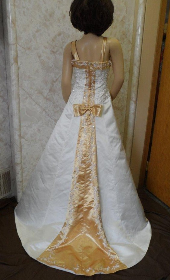 Light Ivory and Gold Bridal Gown