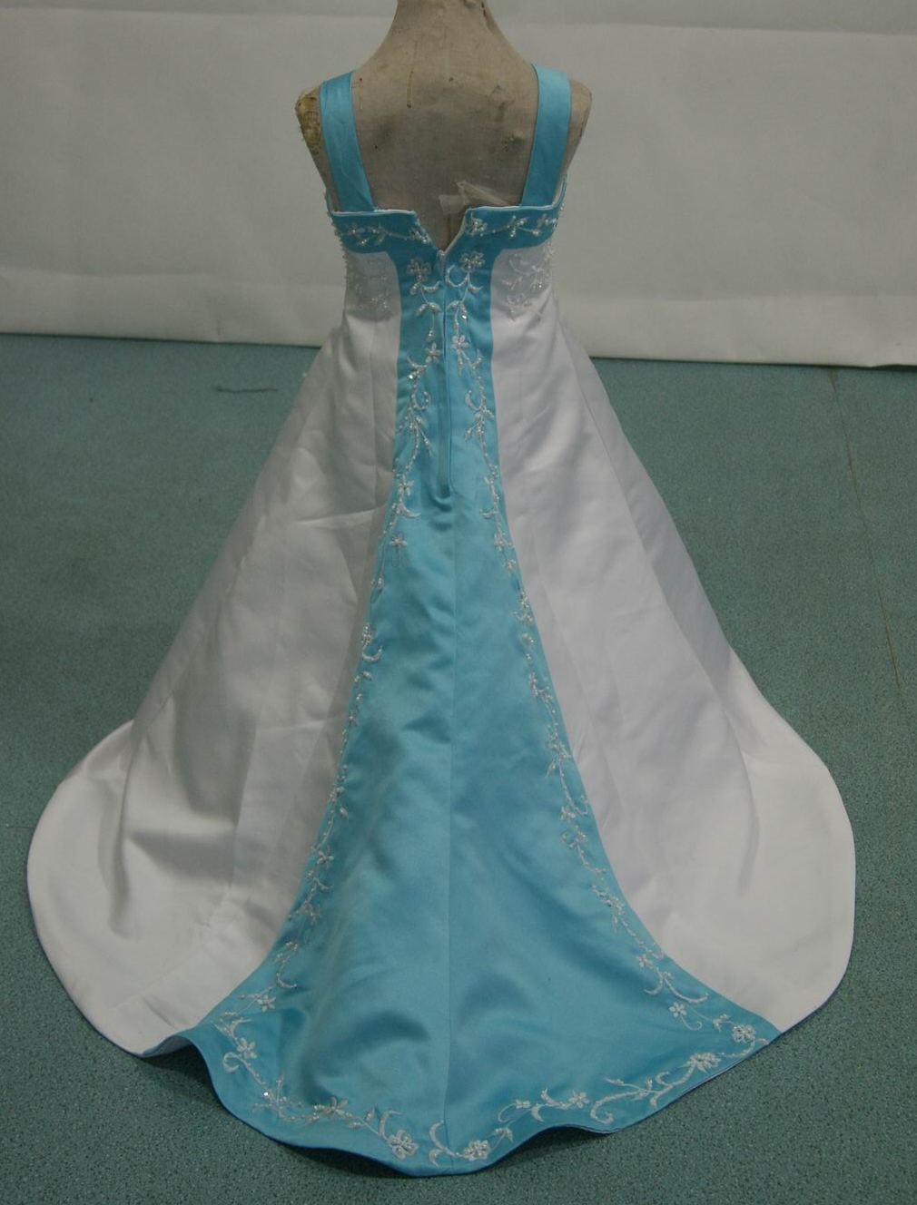 Trim Miniature Bridal Gown In White And Pool Blue