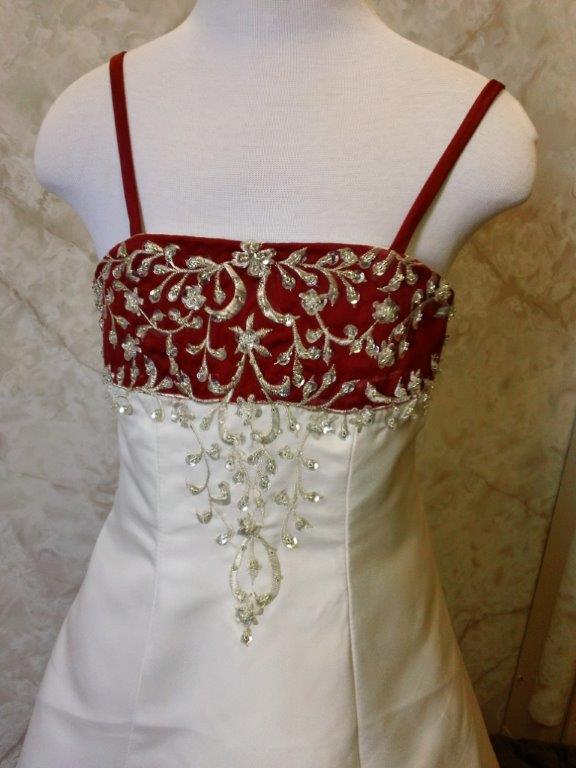 light ivory and apple red wedding gown