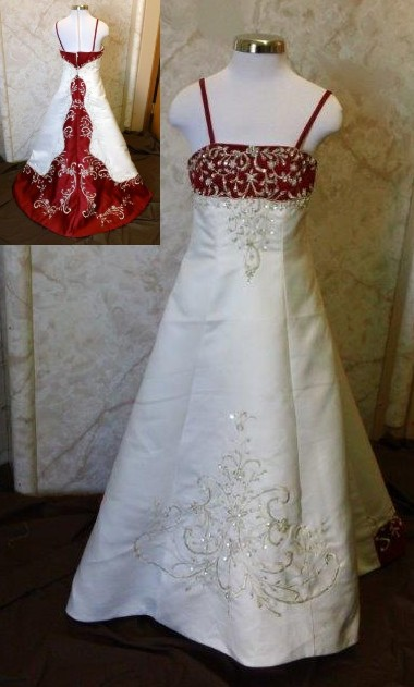 Bride and Matching miniature bridal gown in white and red..