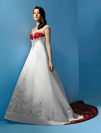 3c6b92af3dd Bride and Matching miniature bridal gown in white and red..