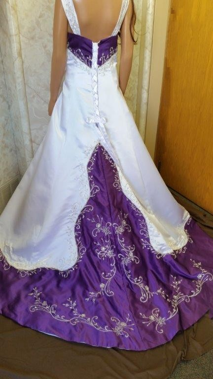 Purple flower girl dresses white and purple wedding gown lavender off shoulder flower mightylinksfo