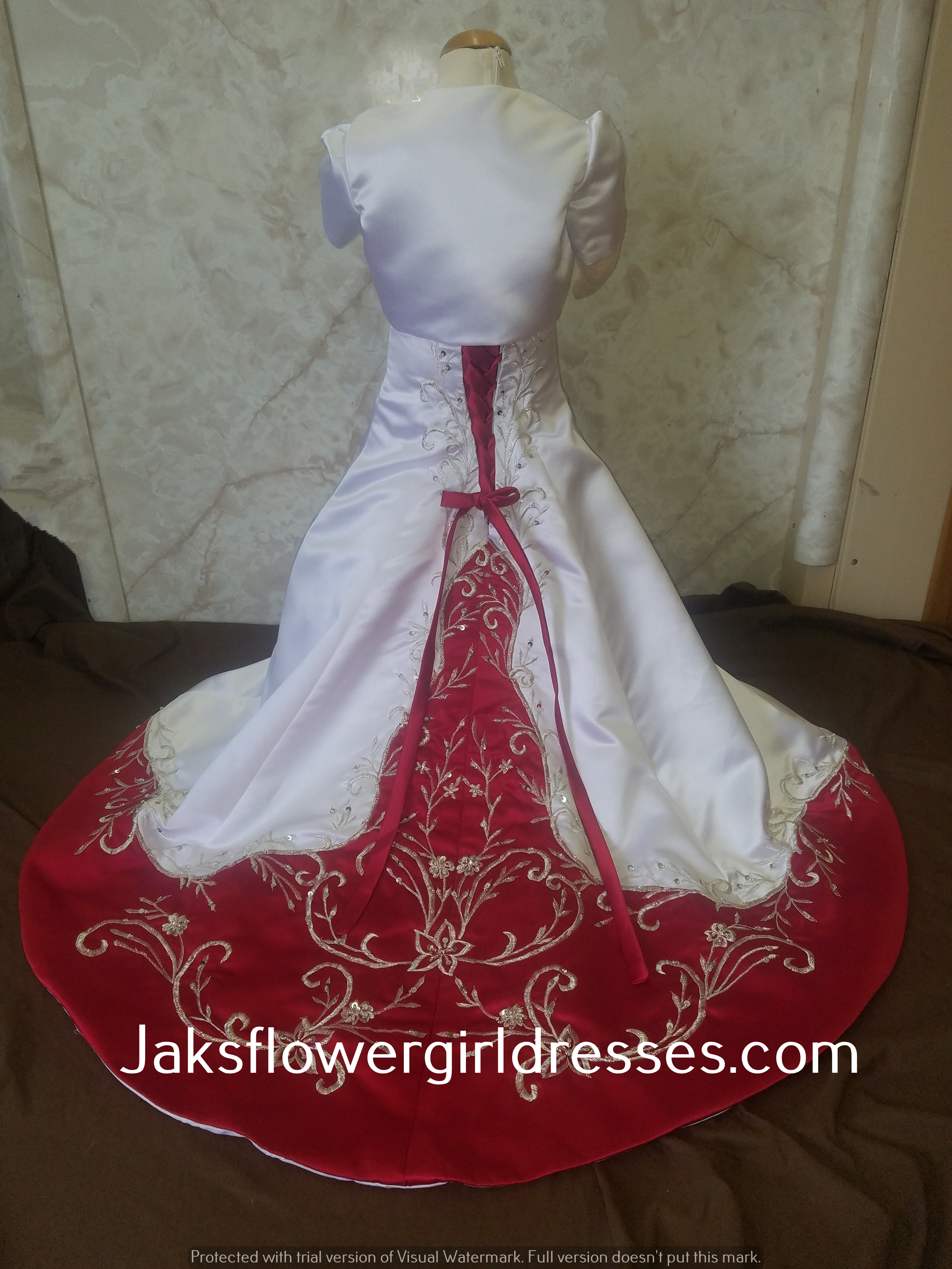 Miniature bridal gowns with color white and apple red flower girl dress with train mightylinksfo