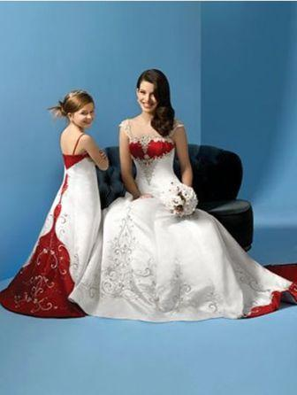 Red and white Bride and Matching miniature bride dresses