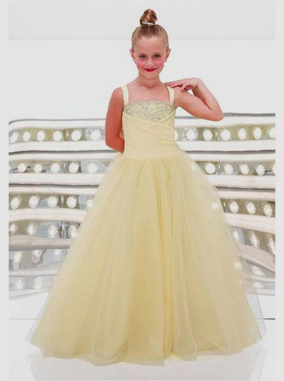Organza ball gown pageant dress.