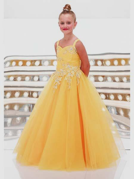 Yellow sweetheart girls ball gowns.