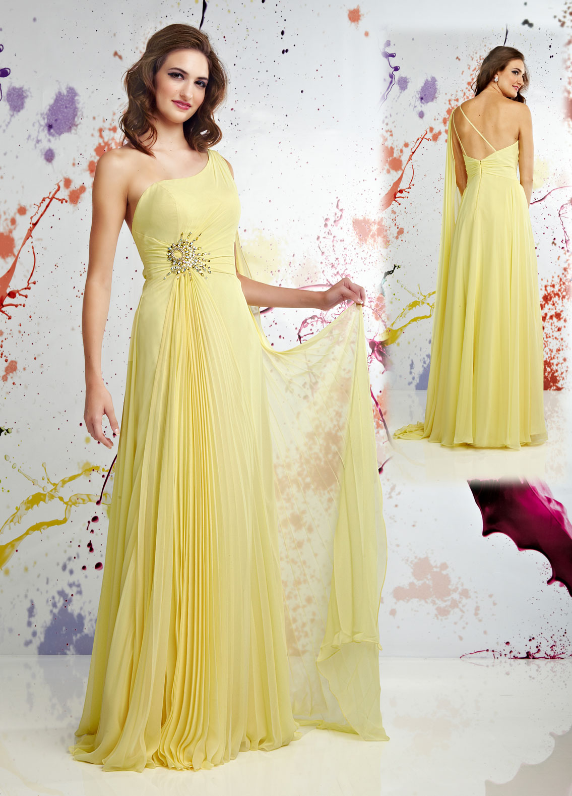 Yellow Chiffon One Shoulder Pageant Prom Evening Dress