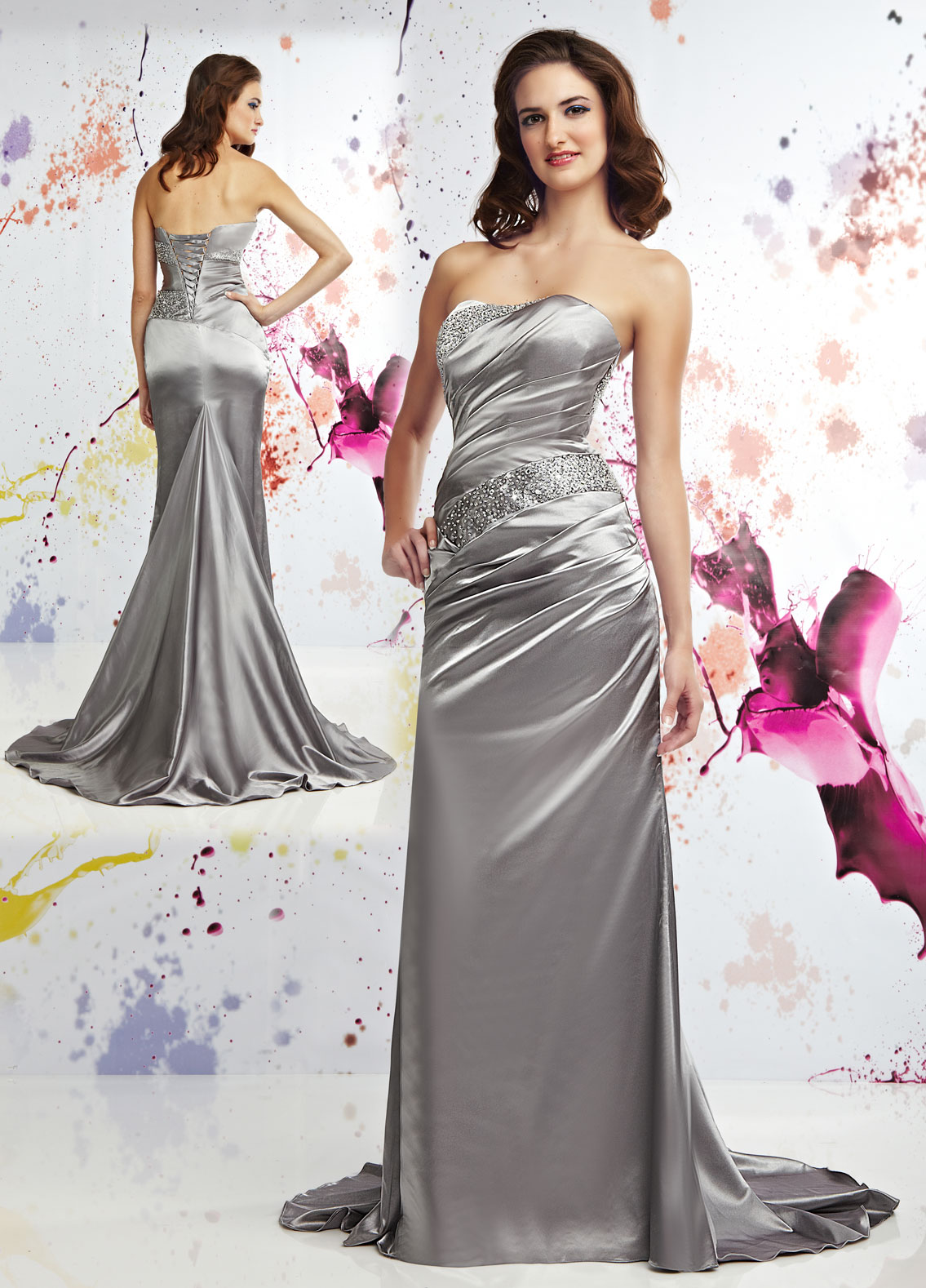 silver silk mermaid dress