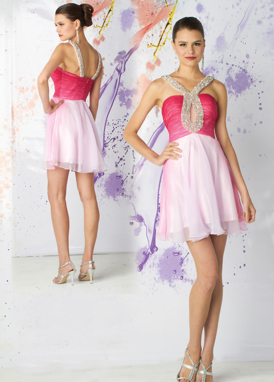 fuschia mini prom dress