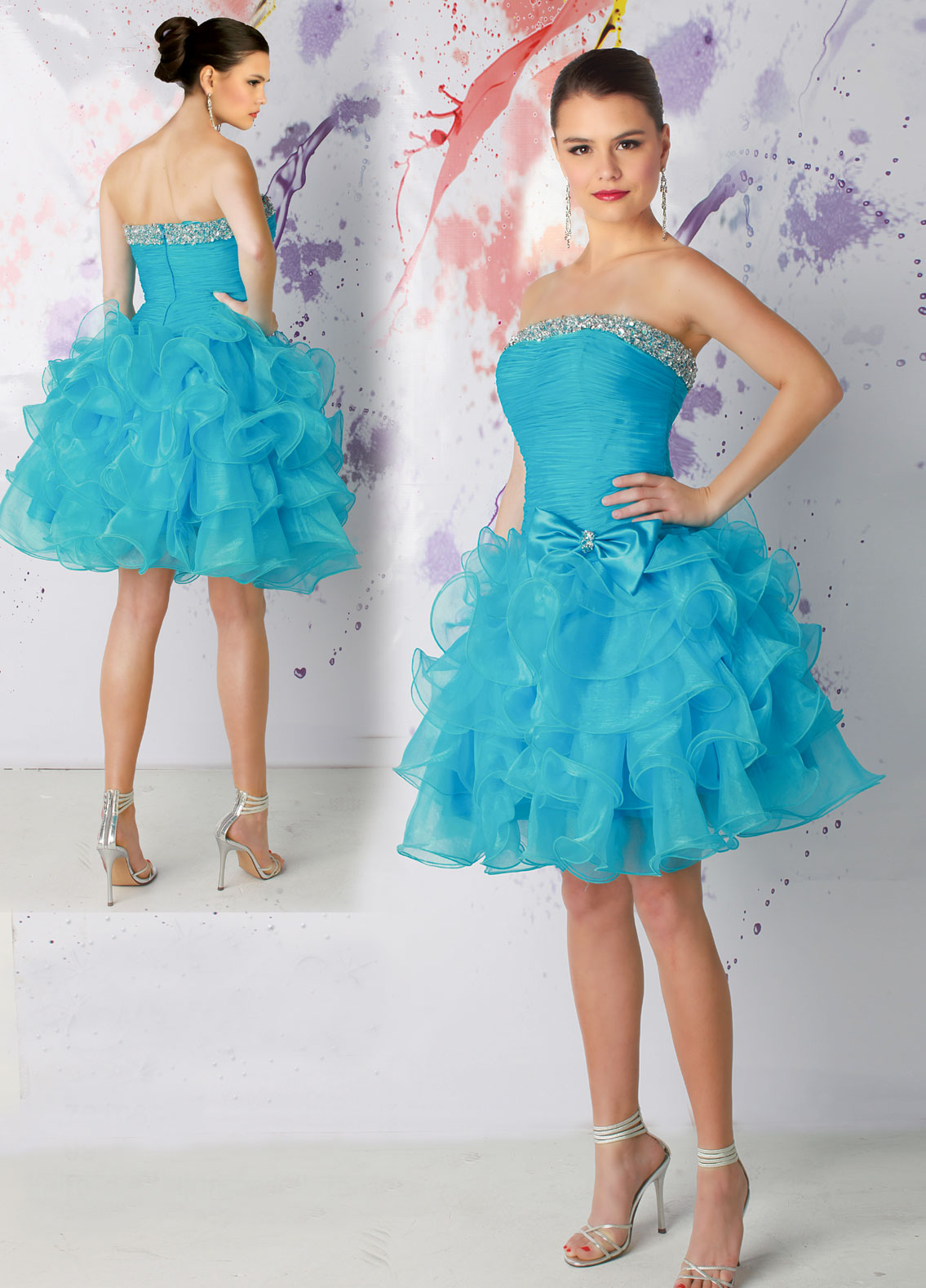 Blue Strapless Short Organza Prom Dress.