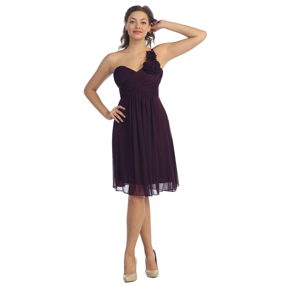 chiffon one shoulder bridesmaid dresses eggplant
