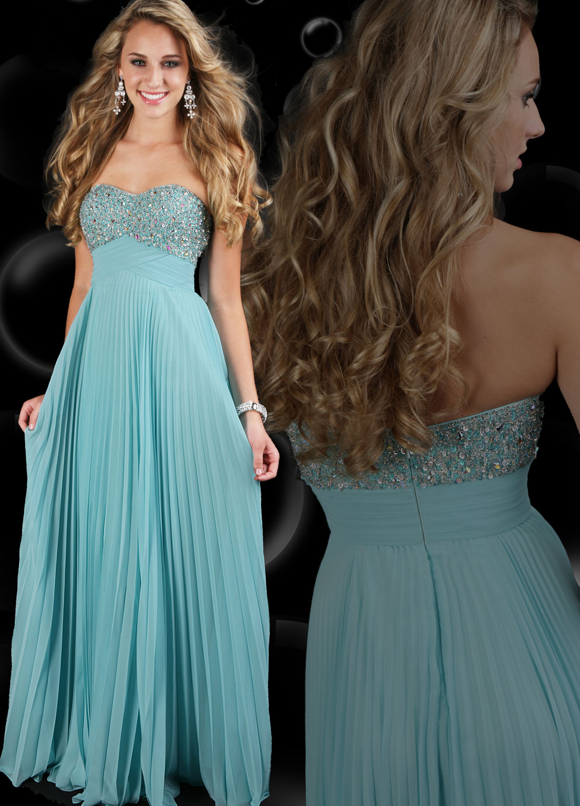 blue pleated skirt prom dress