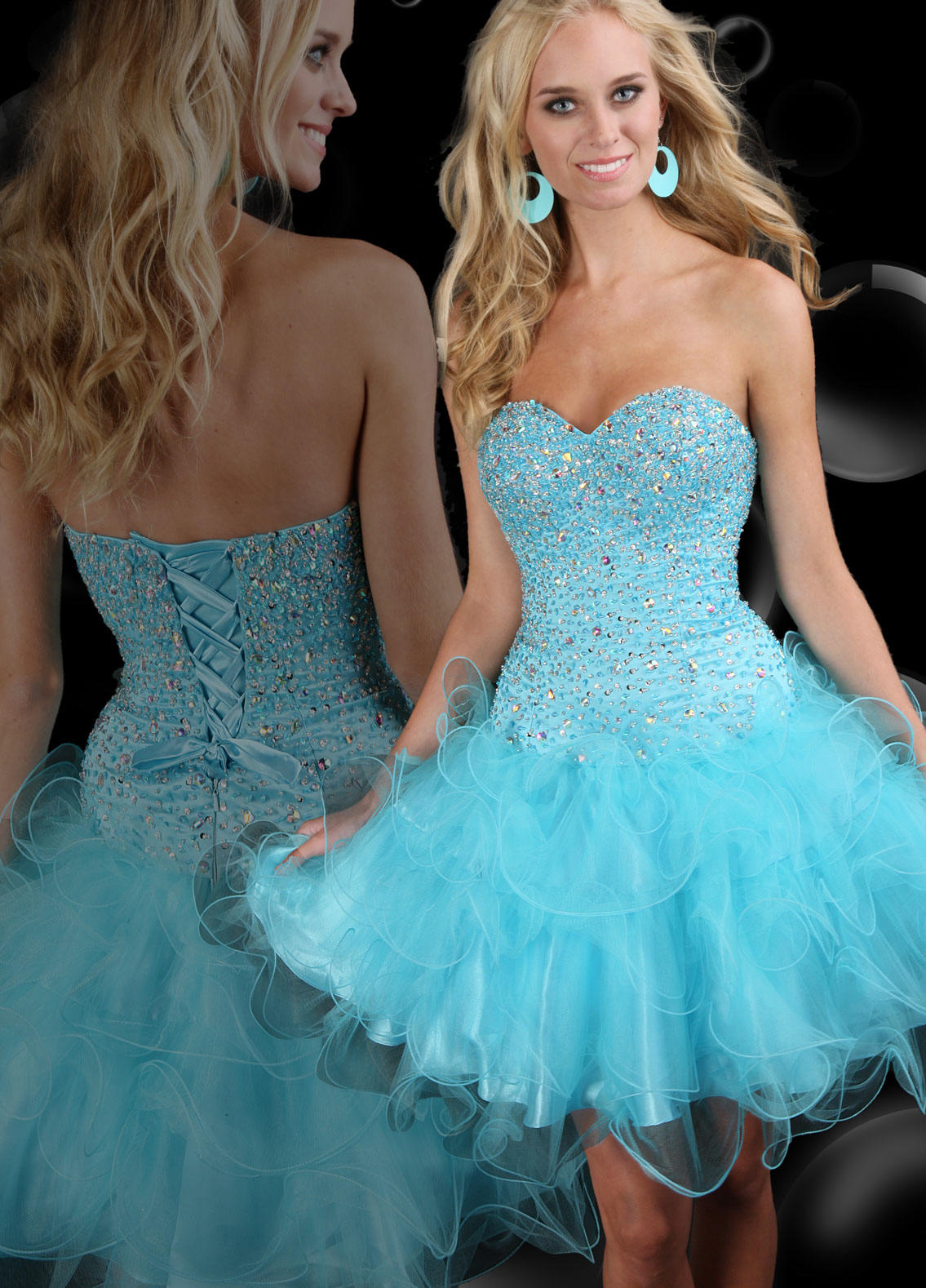 blue tulle baby doll prom dress