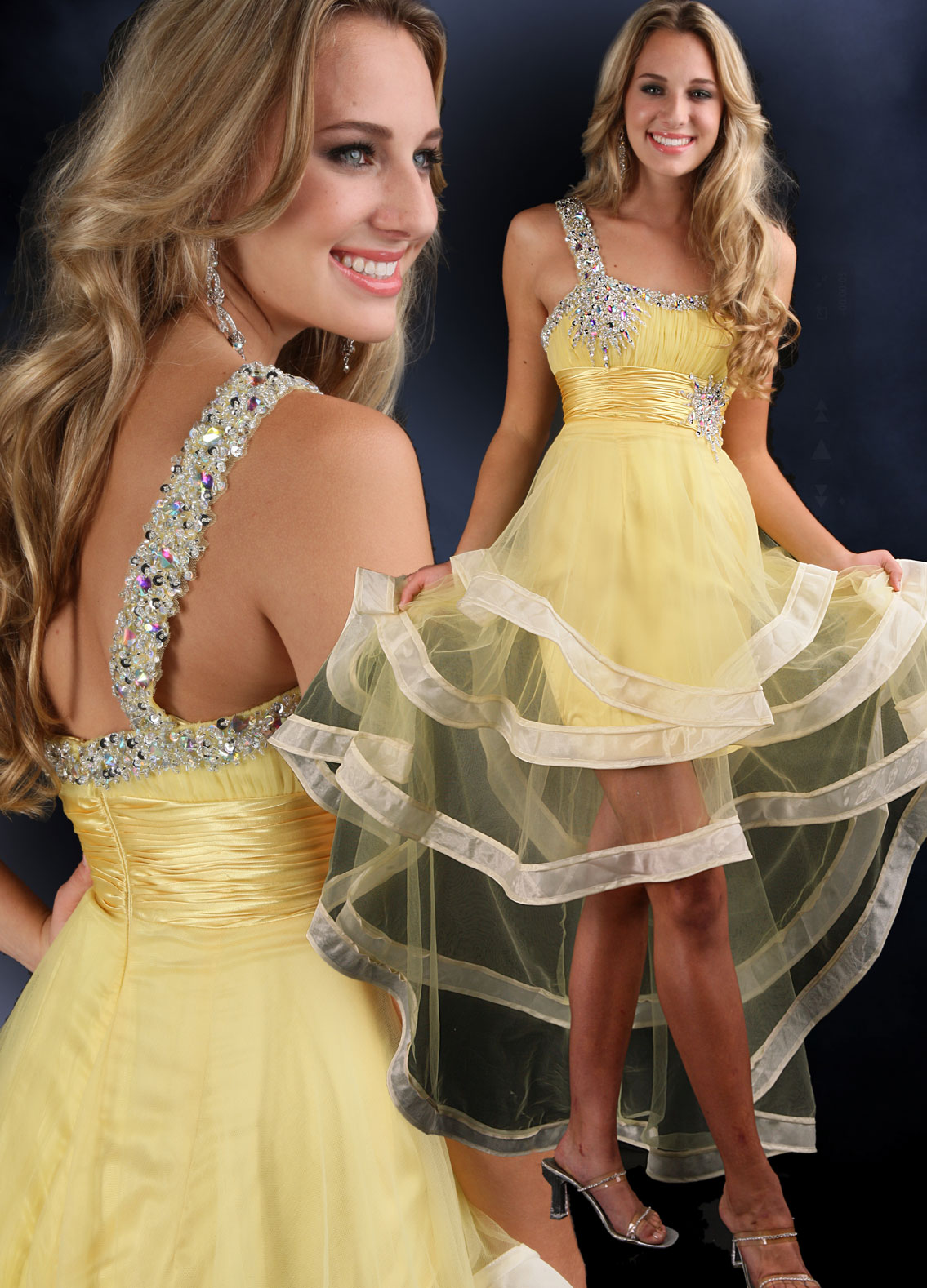 yellow High low prom dress with sheer skirt