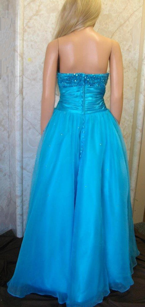 Blue sequin bodice with zipper back