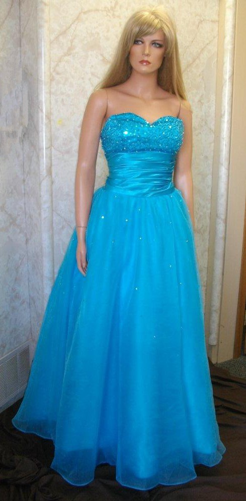 Blue strapless sequin ball gown