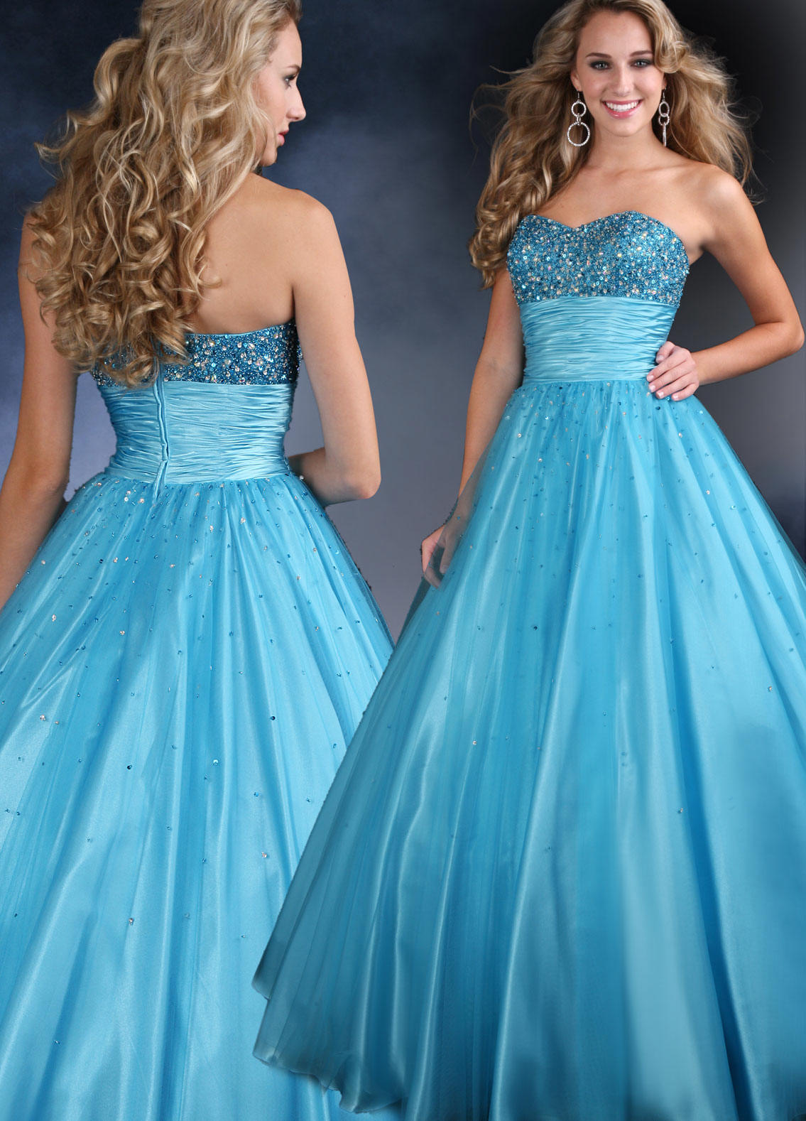 Ball gown with a sweetheart strapless bodice.
