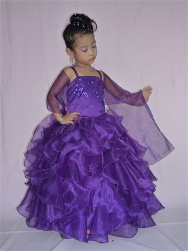 purple flower girl pageant dress with layered ruffles