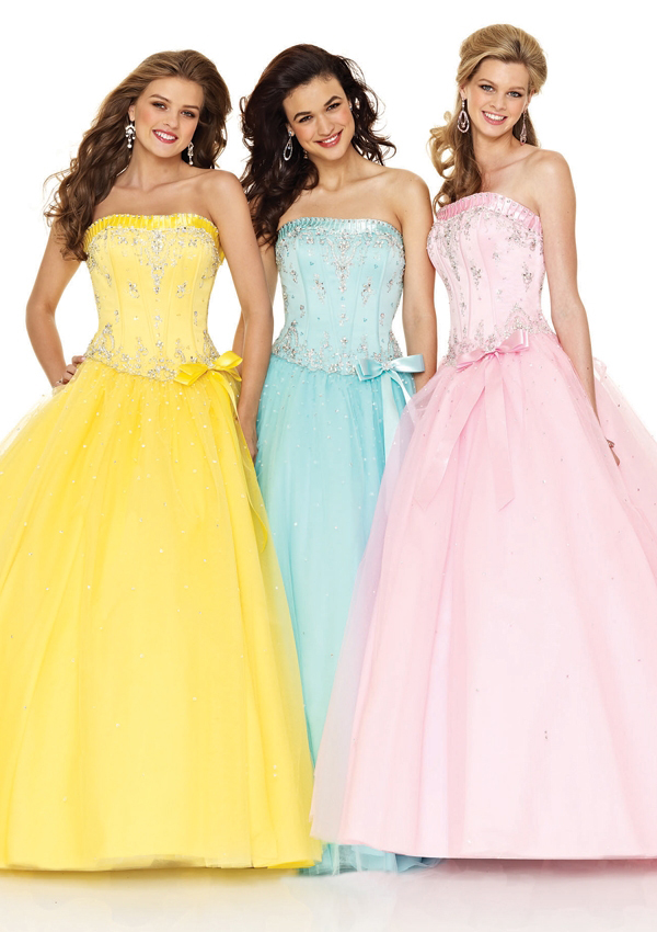 long yellow strapless prom dresses