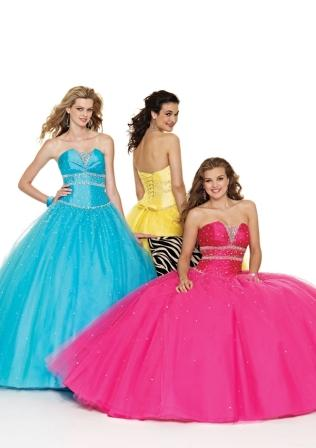 strapless lace up ball gown