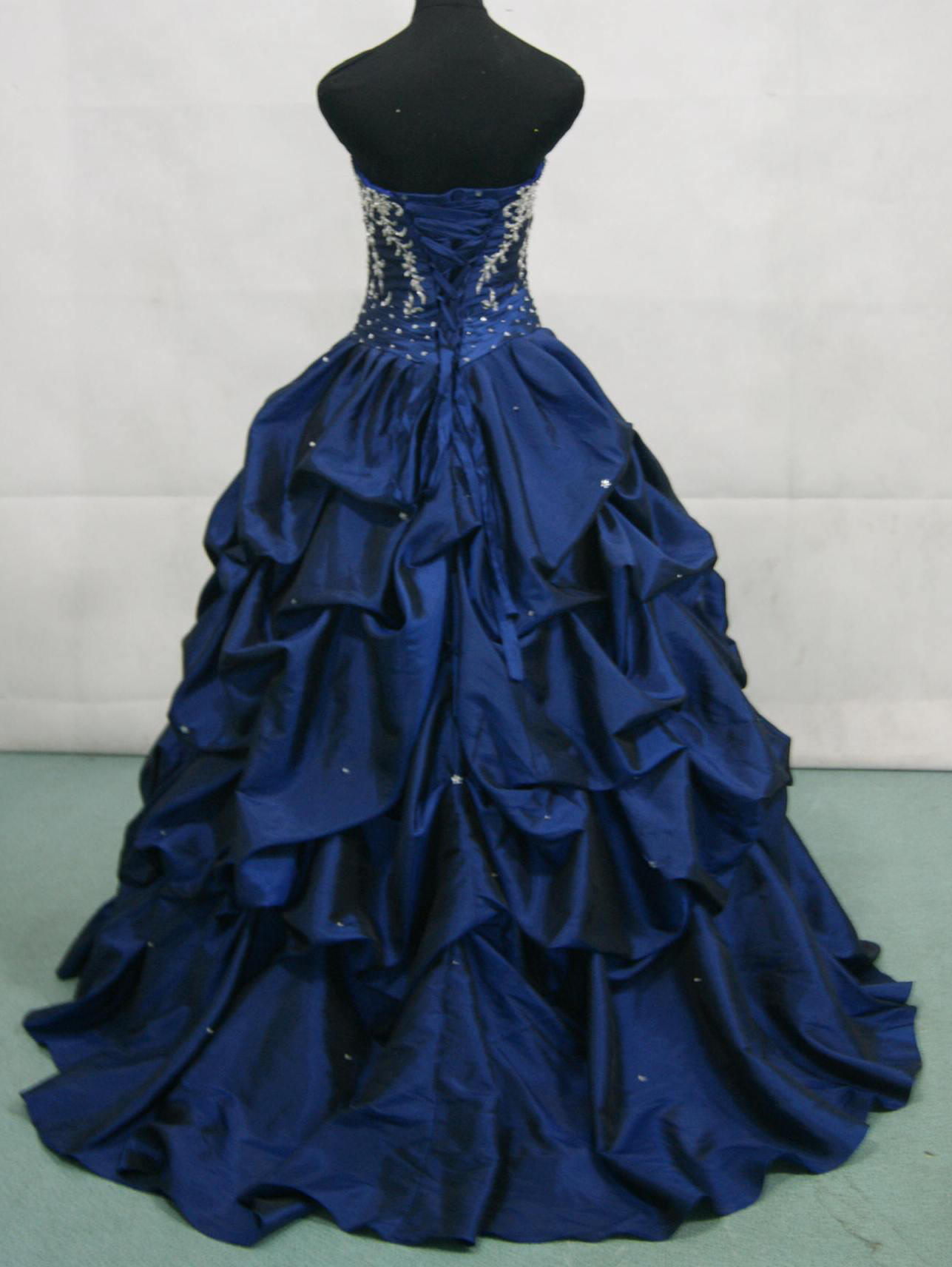 Taffeta Black Raspberry dress with silver beading and appliques