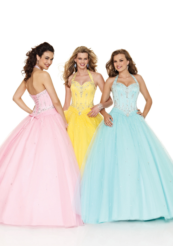 Ladies and teens halter ball gown