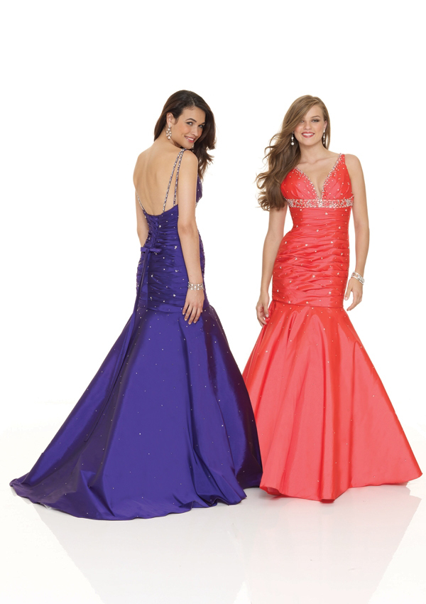 deep V neckline mermaid gown