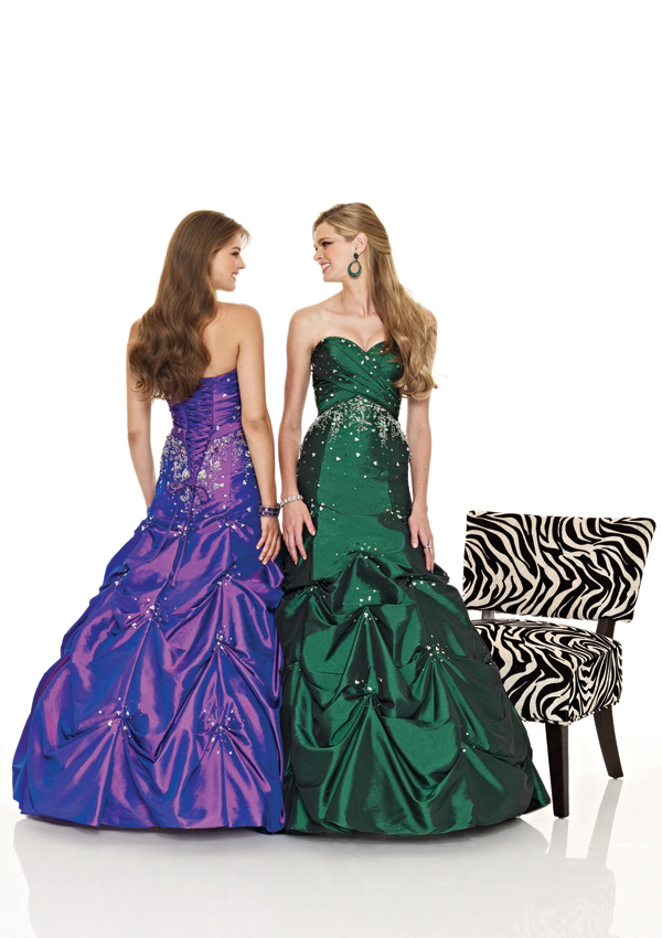 emerald strapless formal