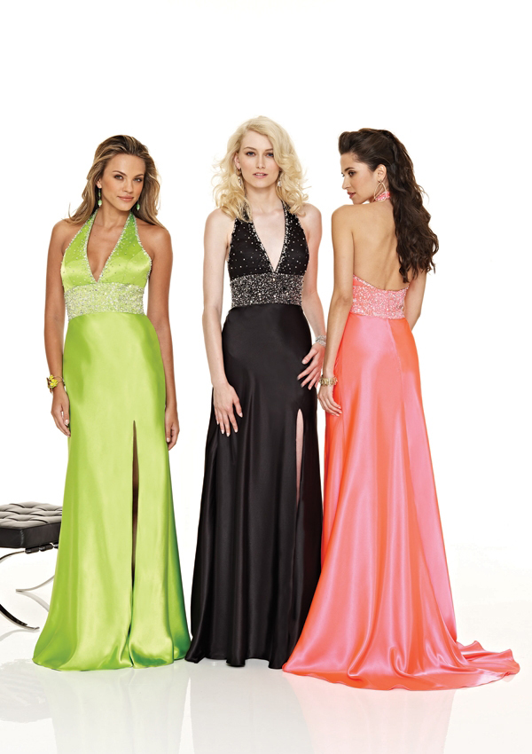 halter side slit prom dress