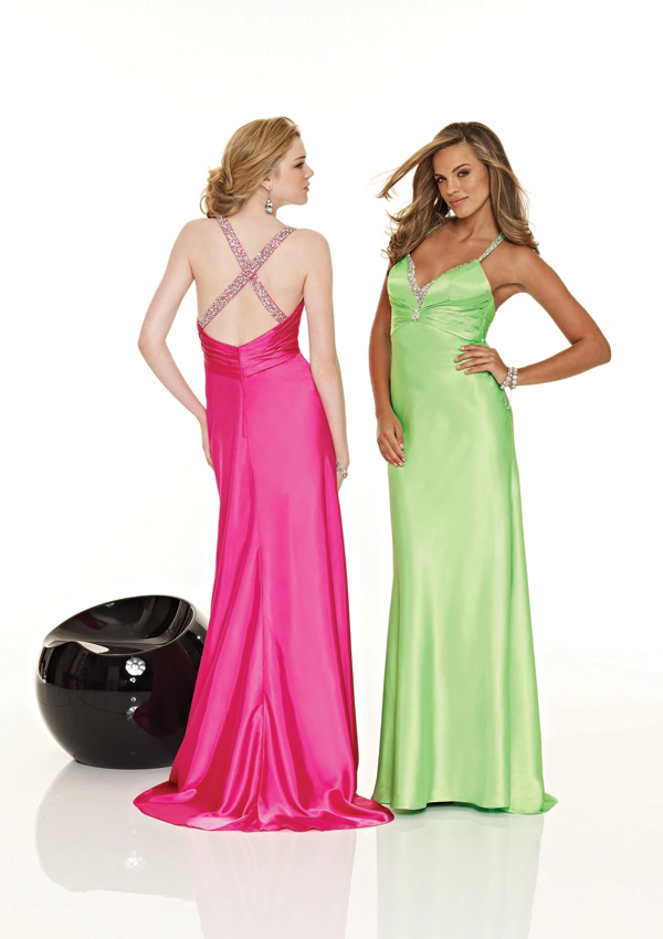 bright colored gowns
