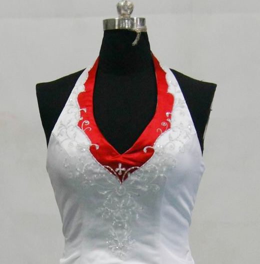 wedding dress white and red halter