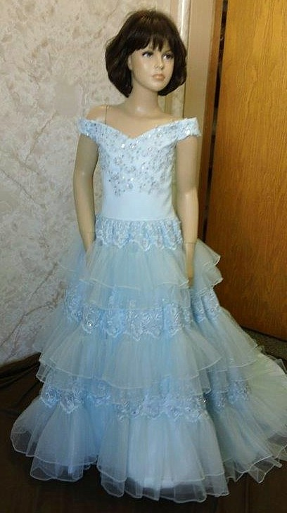 blue southern bell pageant gown